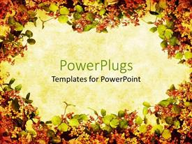 PPT layouts featuring fall floral colors wreath format background