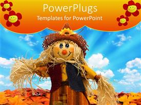 Amazing PPT theme consisting of fall leaves and cloudy sky in background with scarecrow standing in middle