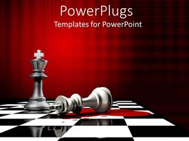 Presentation design featuring fallen king chess piece beside upright piece, black and white chess board, red background