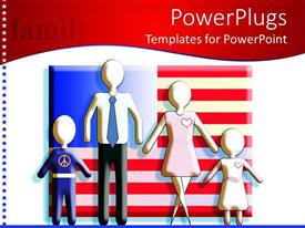 Amazing presentation theme consisting of a family with American flag in the background