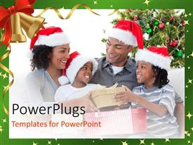 Presentation having a family celebrating Christmas with white background