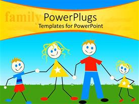 Presentation design enhanced with a family of four cartoon characters on a green field
