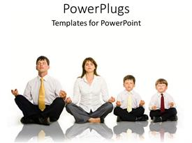 Presentation enhanced with family of four corporately dressed all doing yoga exercise