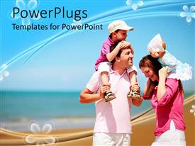 Presentation design consisting of family with mother, father, boy and baby girl at the beach, vacation, travel