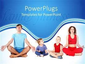 Colorful presentation theme having a family sitting in yoga position