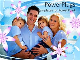 Presentation theme featuring a family together with flowers in the background
