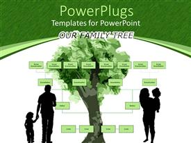 PPT theme with family tree with parents holding kids on green and white background