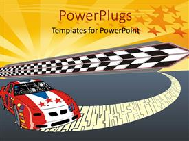 PPT theme consisting of fast racing car illustration with nice starry glowing illustration