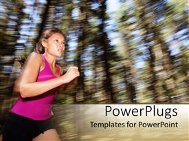 PPT theme enhanced with a female athlete running towards the finish line