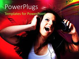 Elegant slides enhanced with a female dancing with a headphone and a colorful music theme background