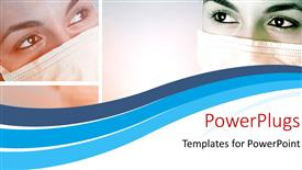 Elegant theme enhanced with a close up view of a ladies face with her mouth covered