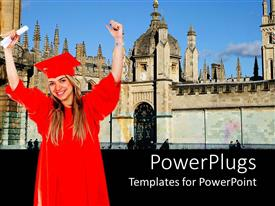 Theme enhanced with a female graduating student with a red colored cape and scroll