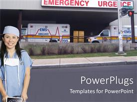 Beautiful slide set with female nurse in scrubs and surgical mask standing outside emergency department in front of two ambulances