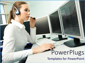 Elegant PPT layouts enhanced with female office worker in white corporate shirt with a head set