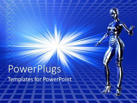 Presentation consisting of female robot blue background
