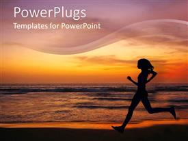 Amazing PPT theme consisting of female running on a beach with a sunset background