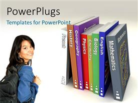 PPT theme enhanced with a female students with rows of colorful text books