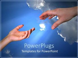 Presentation theme featuring feminine and masculine hands reaching for each other on blue sky background