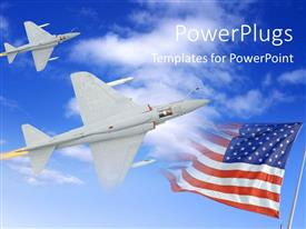Amazing presentation theme consisting of fighter airplane in the sky attacking the enemy, with flag