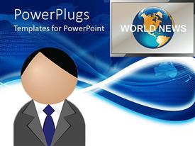 Colorful PPT theme having figure head presenting world news with screen displaying globe and world news words on world map on blue background