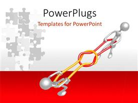 Presentation design enhanced with presentation figures in 3D playing with grey colored puzzles