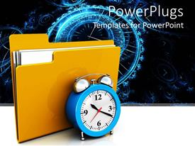 PPT theme having a file and a clock with clocks in the background
