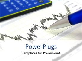 Colorful presentation having financial chart with pen, calculator, finance, investing, budgeting