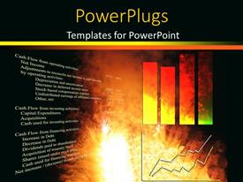 Presentation consisting of financial chart with two dimensional bar charts on fiery background