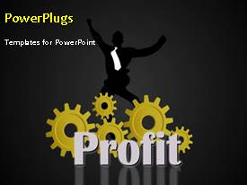 Presentation theme consisting of financial profit depiction with businessman and rotating cogwheels