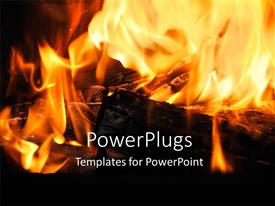 Presentation theme featuring a fire being burnt with blackish background and place for text