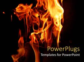 Presentation theme consisting of the fire burning with a dark background and a place for text