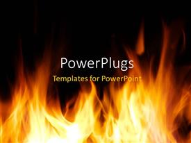 PPT theme enhanced with fire flames over dark background