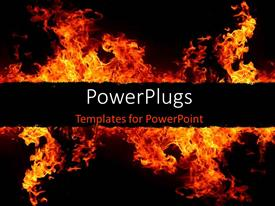 Elegant PPT layouts enhanced with fire flames over dark background