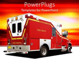 Presentation design with fire rescue firetruck on white ground and yellow, orange and red background