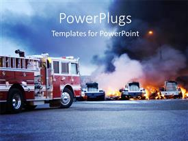 PPT layouts enhanced with firemen fight a fire that has involved industrial trucks with fog