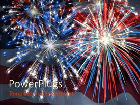 PPT layouts with a firework display being impressed by the american flag along with the flag in the background