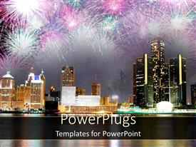 PPT theme consisting of fireworks display in modern city showing night sky