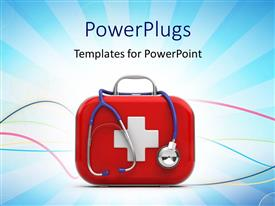 Colorful PPT theme having first aid box and stethoscope with medical symbol on blue background