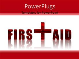 Elegant theme enhanced with first Aid reflected 3D text over white background