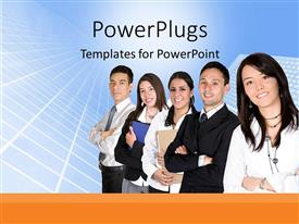 Amazing PPT theme consisting of five business people standing in a line smiling happily