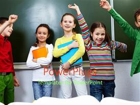 Slide set with five children raising hands and smiling while holding books