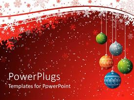 PPT theme having five christmas balls over a red background with snow flakes