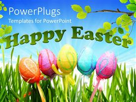 Amazing presentation design consisting of five colorful Easter decorated eggs with the text HAPPY EASTER