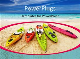 PPT theme enhanced with five colorful kayaks on beach sand with blue cloudy sky