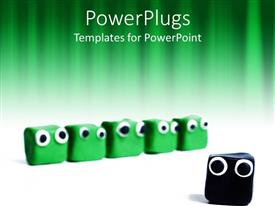 Beautiful PPT layouts with five cute green boxes with bulging eyes with one black distinct box
