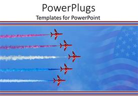 PPT theme having five flying red planes with colorful smoke behind them and American flag faded in the background