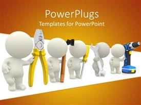 Colorful slides having five men holding pliers, hammer, spanner, screw driver and drilling tool