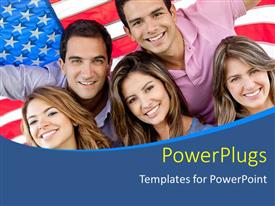 Beautiful presentation theme with five people standing in front of an American flag