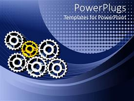 Colorful presentation design having five silver and one gold gears placed together to form working mechanism
