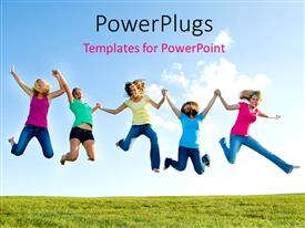 PPT layouts with five smiling girls in mid jump on grassy field